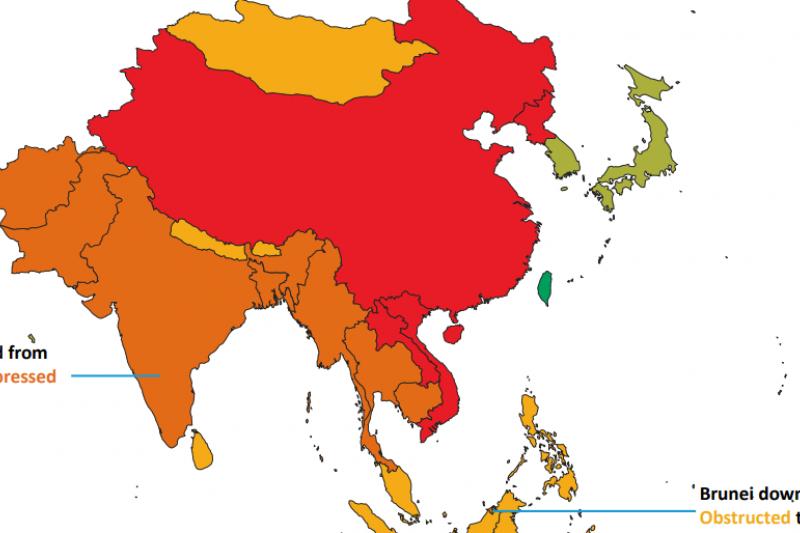 非政府組織CIVICUS和區域人權組織亞洲論壇(Forum-Asia)合作發布2019年《受威脅的公民力量報告》,台灣是亞洲唯一被列為「開放」的國家。(截自報告)