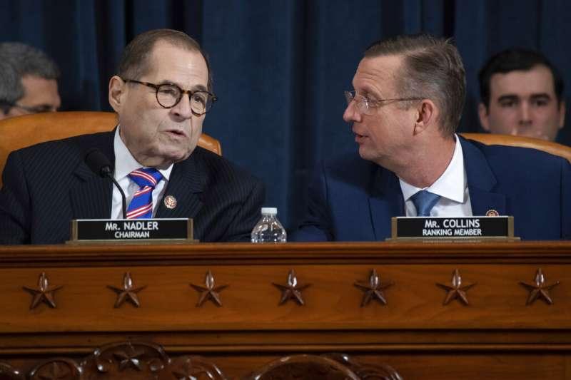 美國眾議院司法委員會的民主黨領袖納德勒(Jerrold Nadler)與共和黨領袖柯林斯(Doug Collins)。(美聯社)