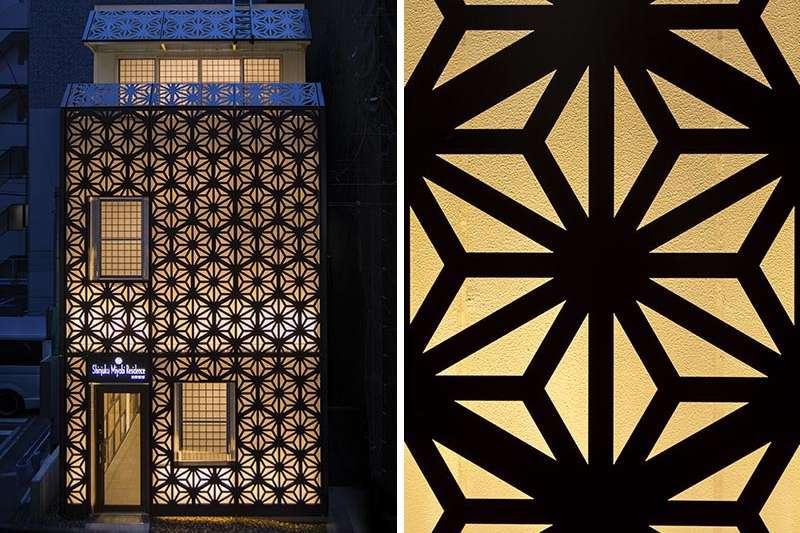 姬松建築事務所特地將旅館的立面設計為大麻葉圖案,希望能與許多喜歡日本文化的各國旅行者一起成長和發展。(圖/瘋設計)