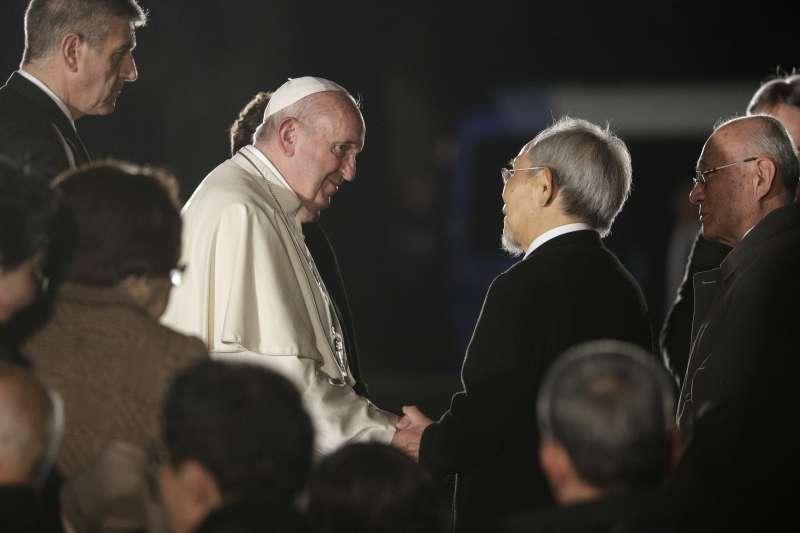 2019年11月24日,教宗方濟各訪問日本廣島,呼籲全球廢棄核武。(AP)