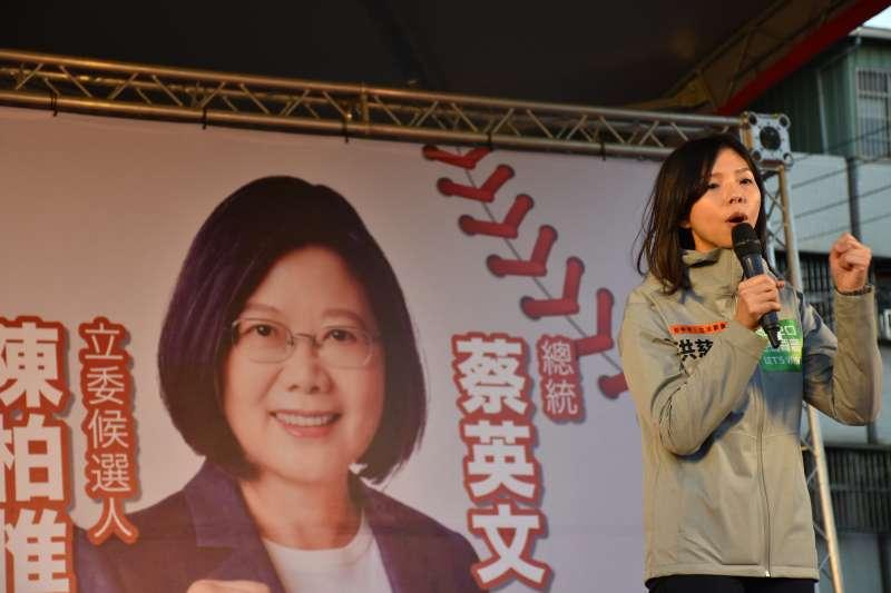 無黨籍立委洪慈庸8日為台灣基進立委候選人陳柏惟站台。(台灣基進提供)