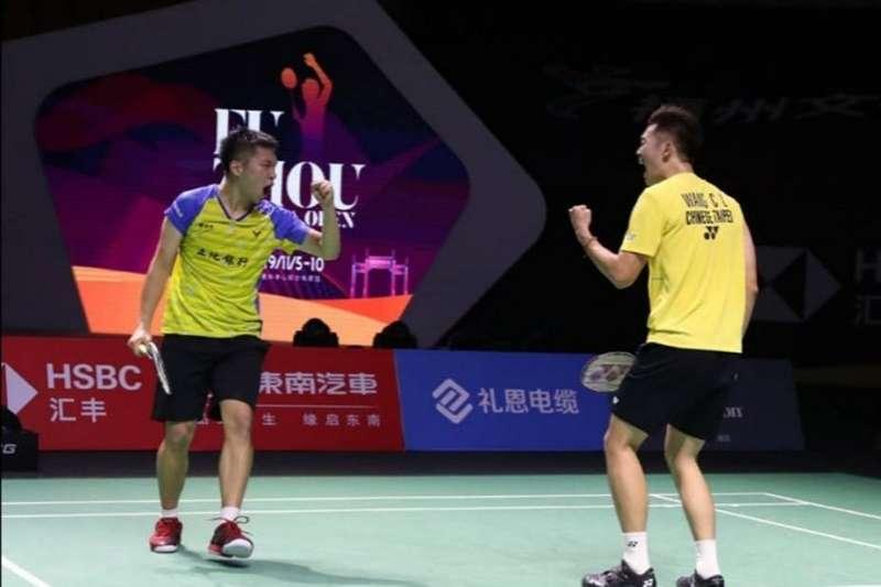 李洋與王齊麟在2019羽球年終賽,擊敗同樣來自台灣的楊博涵與盧敬堯,奪下小組賽首勝。 (圖片取自李洋粉專)