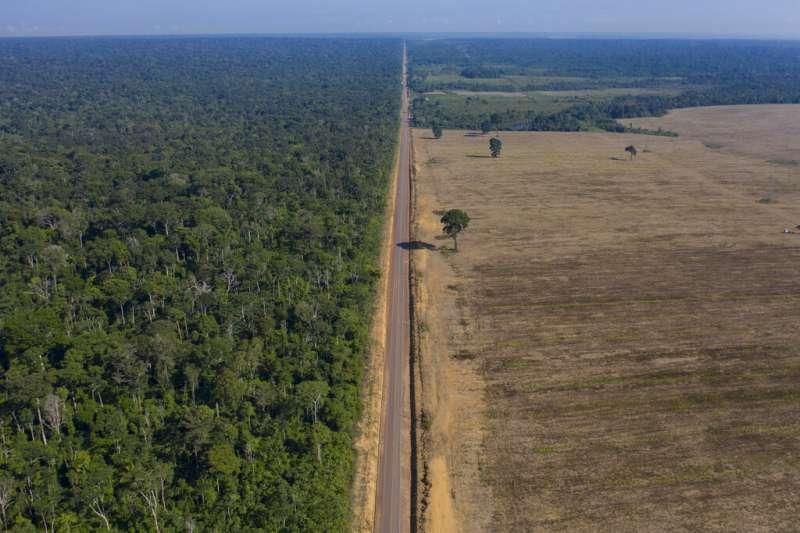 此圖位於巴西北部帕拉州。圖中央為BR-163號高速公路,左側是塔帕若斯國家森林區,右側是大豆田。(AP)