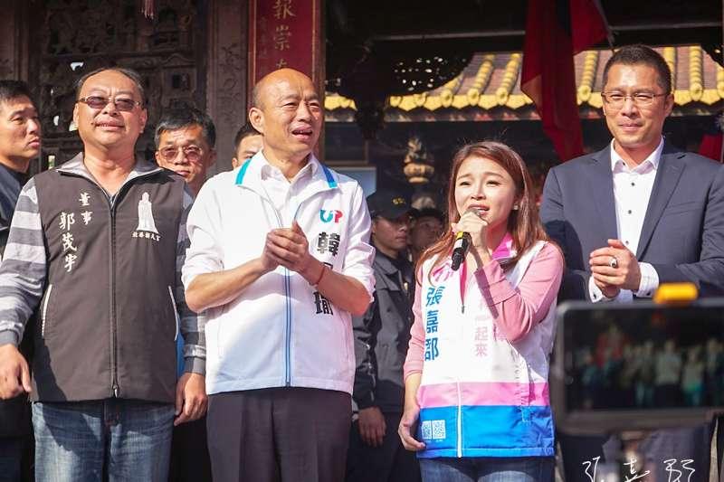 雲林副議長蘇俊豪(右一)近日為國民黨立委候選人張嘉郡(右二)站台,並表態支持國民黨總統候選人韓國瑜(右三)。(取自張嘉郡臉書)