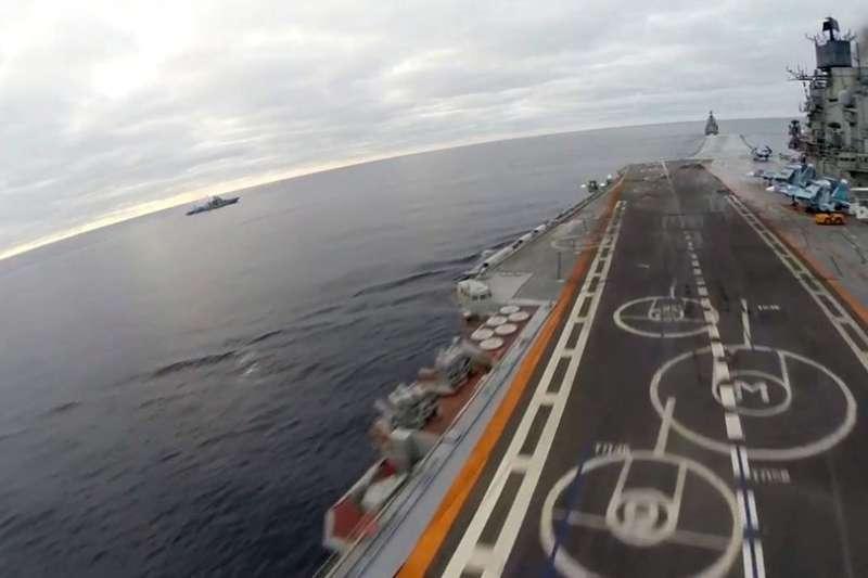 俄國航空母艦庫茲涅佐夫海軍上將號。(俄羅斯衛星網)