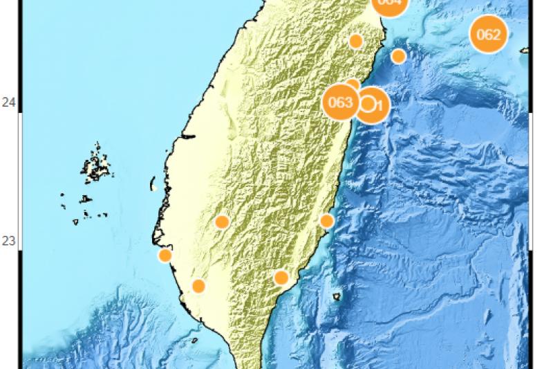 根據中央氣象局最新資訊,29日晚9時42分發生芮氏規模5.1地震。示意圖。(資料照,中央氣象局提供)