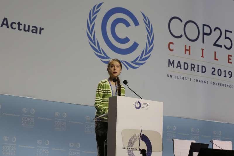 瑞典「氣候少女」通貝里出席在西班牙馬德里舉行的聯合國氣候峰會COP 25(AP)
