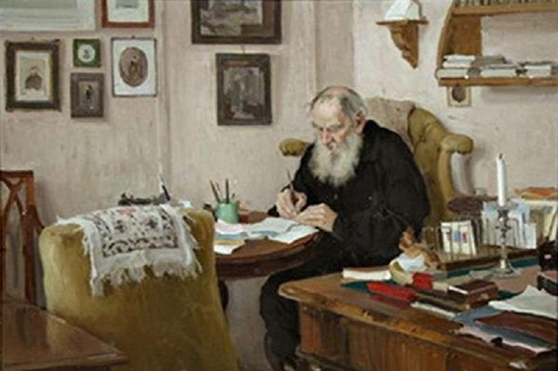 1909年~1910年,油畫《在晴園書房中工作的L. N. 托爾斯泰》(公有領域)