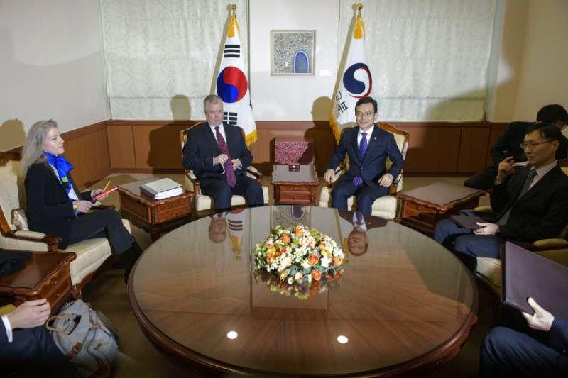 美國國務院北韓政策特使、副國務卿被提名人畢甘(Stephen Biegun)在南韓訪問。(美聯社)