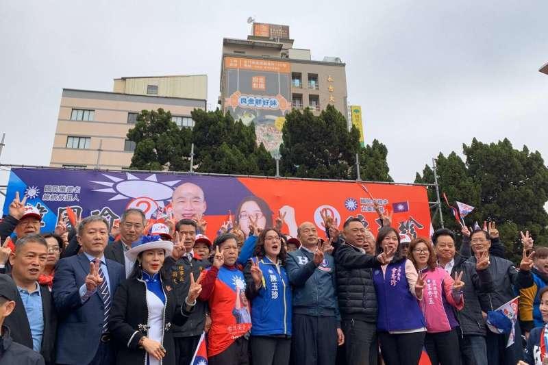 國民黨總統候選人韓國瑜20日赴金門,出席國民黨立委候選人陳玉珍聯合競選總部成立大會。(韓國瑜競選總部提供)