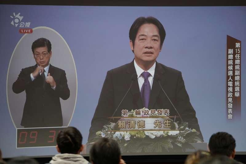 20191220-民進黨副總統參選人賴清德12日出席副總統電視政見發表會。(盧逸峰攝)