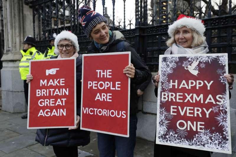 支持英國脫歐的民眾(AP)