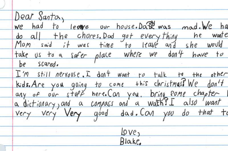 美國德州一名7歲男孩遭父親家暴,他近日寫信給耶誕老人,希望得到的禮物是個「非常非常非常好的爸爸」。(圖取自facebook.com/safehaventc)