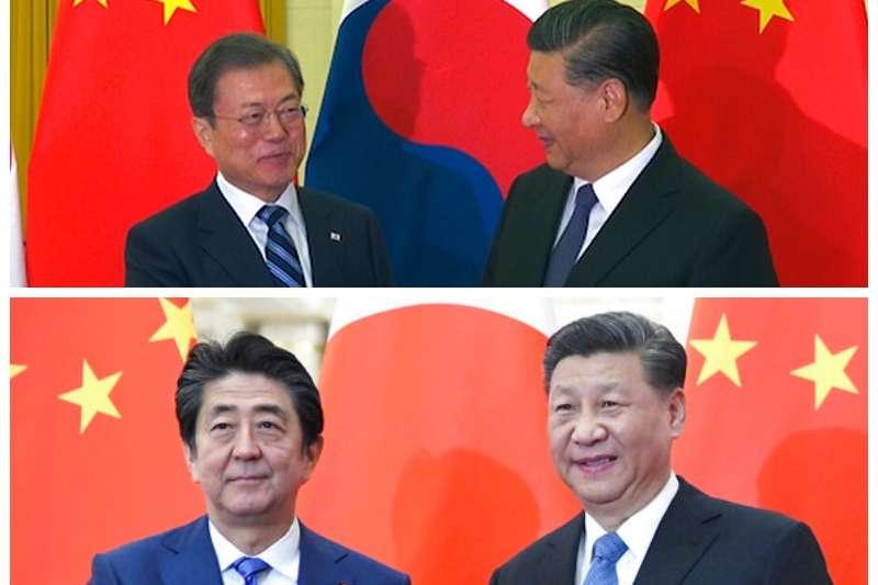 安倍晉三與文在寅23日都訪問北京、也都跟習近平碰面,但兩人在北京卻是王不見王。(美聯社合成照)