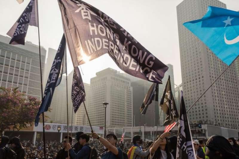 香港抗議者星期天(12月22日)舉行「聲援維吾爾族人權集會」。(美國之音)