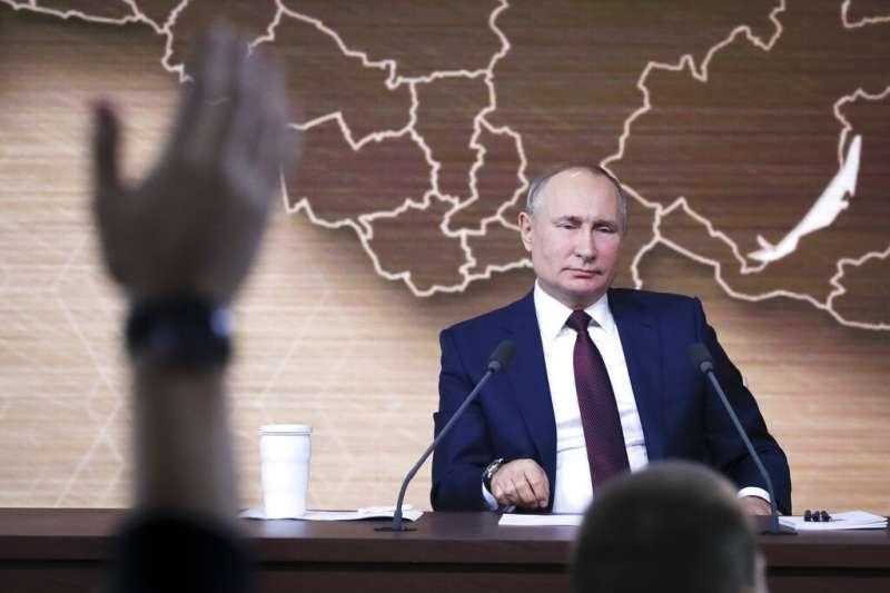 2019年度記者會上的普京。(美聯社)