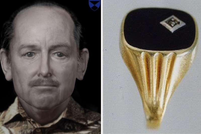 荷蘭警方希望透過播客,能解開死者(左)身分之謎,右為死者遇害時手上戴的戒指(取自網路)