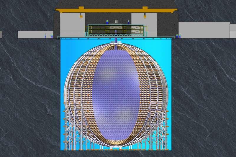 中國建造超大玻璃球,求解「幽靈粒子」之謎。JUNO探測器示意圖。(新華社)