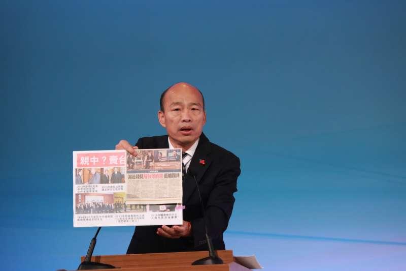 民進黨立委王定宇質疑國民黨總統候選人韓國瑜(見圖)在辯論會上脫鞋子、搓腳。(資料照,台北市攝影記者聯誼會提供)