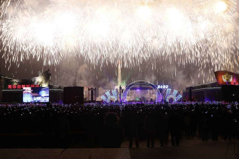 2020年來到,北韓平壤新年煙火秀(AP)