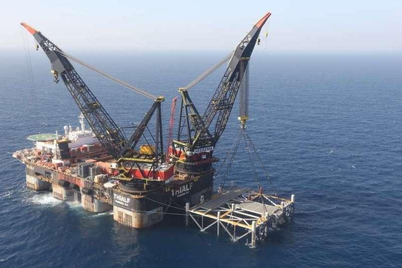 以色列外海的利維坦天然氣田。(AP)