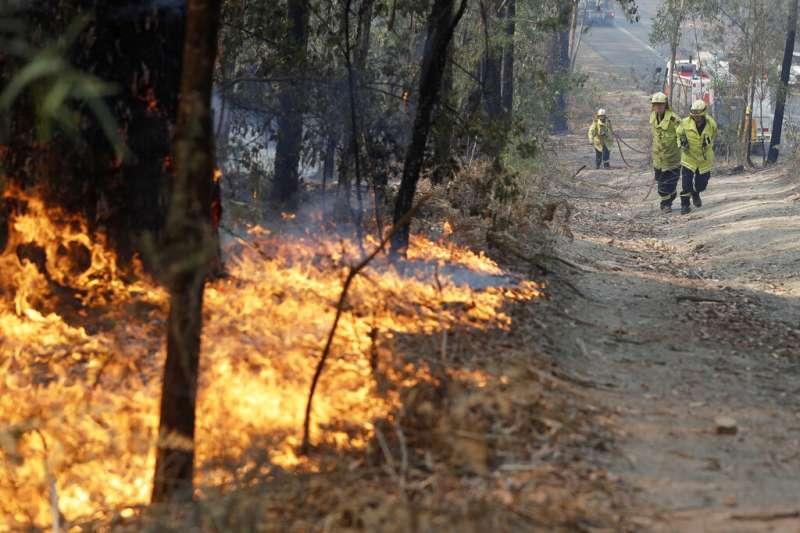 4日稍早,雪梨南方地區再傳20處新起野火,該區消防人員宣布緊急撤出雪山地區。(AP)