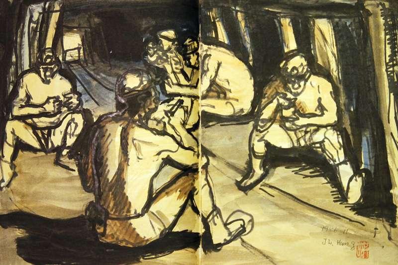 畫家洪瑞麟的礦工素描。(文化部提供)