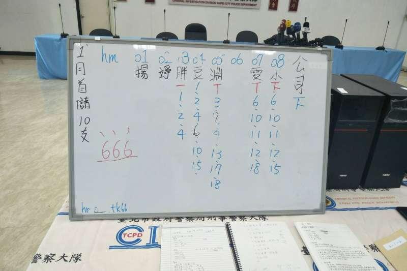 20200109-台北市政府警察局掃蕩選舉賭盤,8日在台北內湖、台中大里等地展開查緝,搗破選舉賭盤機房,查獲電腦、手機等證物,逮捕犯嫌7人。(台北市警察局提供)