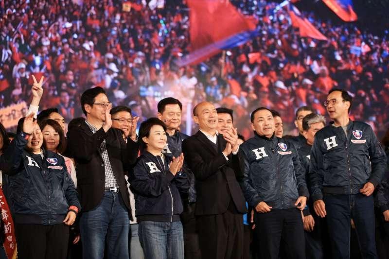 20200109-民黨總統候選人韓國瑜「台灣安全、人民有錢」晚會9日傍晚於凱道前登場。(簡必丞攝)
