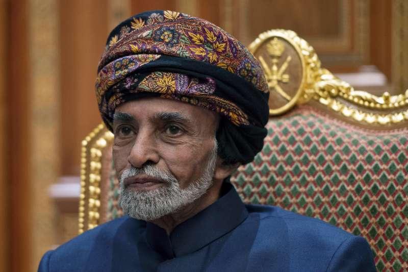 阿曼蘇丹喀布斯(Qaboos bin Said),2019年1月接見美國國務卿龐畢歐。(AP)