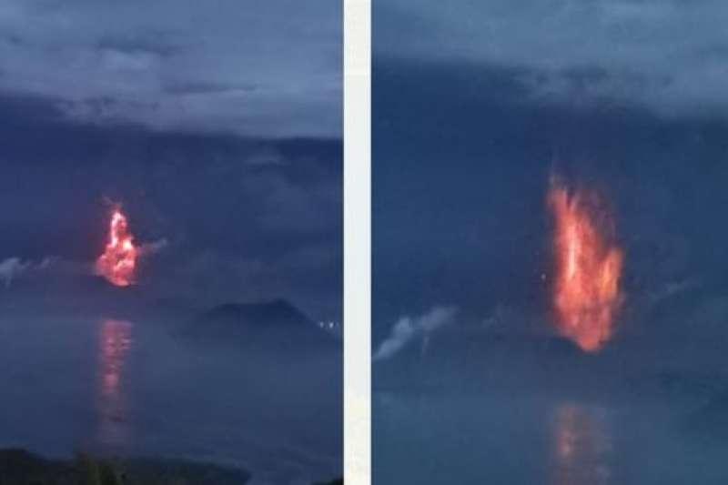 菲律賓塔爾火山開始噴發岩漿。(PHIVOLCS)