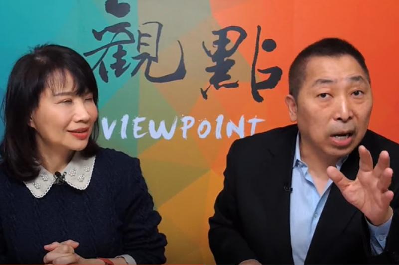 資深媒體人唐湘龍(右)、陳鳳馨(左)於17日的網路直播節目中,談及武漢肺炎疫情發展狀況。(擷取自觀點YouTube頻道)