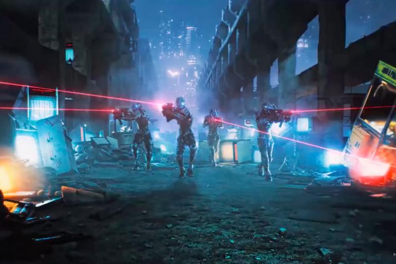 20200117-玩家共和國Republic of Gamers場景2019版,以阿根納造船廠之數位模型建造的未來街道。(夢想動畫提供)