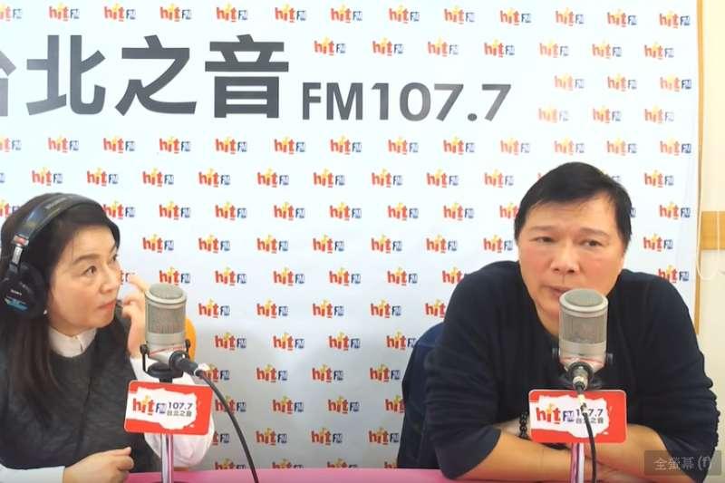 資深媒體人蔡詩萍(右)直言,如果高雄市長韓國瑜當時可以忍住參選總統的念頭,「他到現在還是一號人物。」(取自hitfm@youtube)