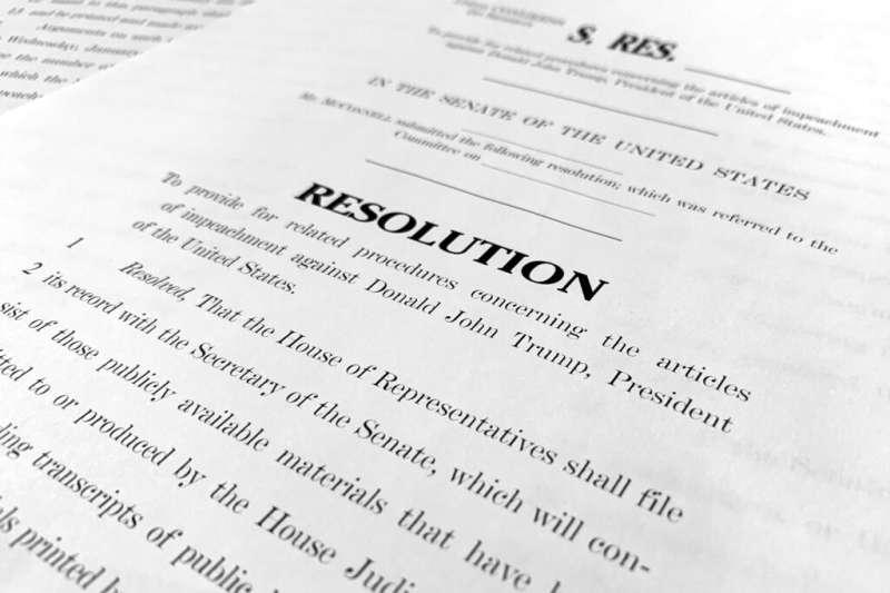 2020年1月20ˋ日,美國總統川普解職案開庭前夕,總統律師團發布辯護備忘錄,批評眾議院對川普的指控「危險地扭曲了」憲法。(AP)