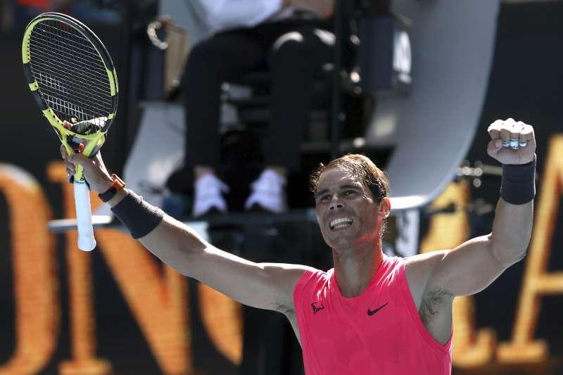 納達爾在澳網首輪火力全開,成功挺進64強。(美聯社)