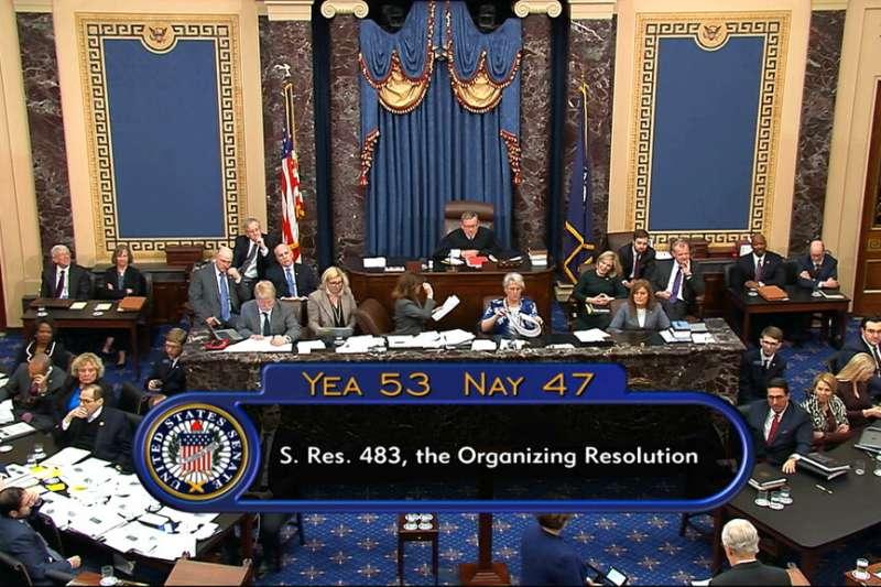 美國總統川普解職大審21日展開,共和黨參議員通過參議院共和黨領袖麥康奈爾提議的審判規則。(AP)