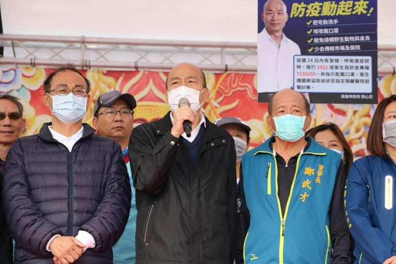 高雄市長韓國瑜大年初五參香祈福, 叮囑武漢肺炎正確防疫觀念。(高雄市政府提供)