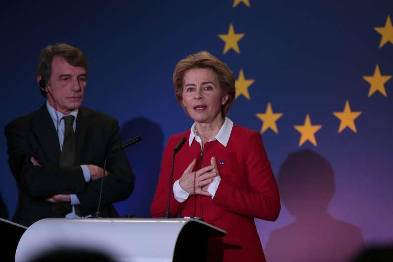 英國脫歐。英國於2020年1月31日正式脫離歐盟。圖為歐盟執委會主席馮德萊恩(Ursula von der Leyen)。(AP)