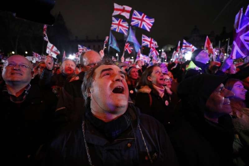英國在當地時間1月31日晚間11時(台灣時間上午7時)正式脫離歐洲聯盟,結束47年的成員國身分。(AP)