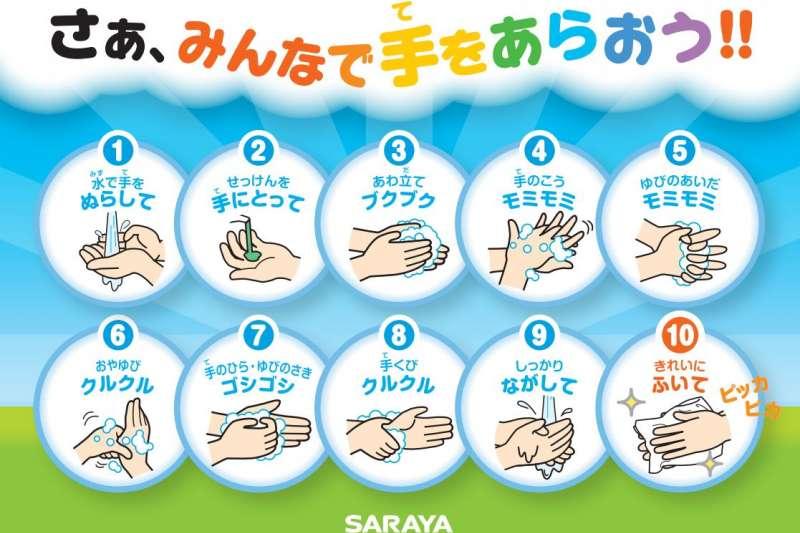 預防武漢肺炎,日本政府及相關產品業者呼籲民眾正確洗手。(翻攝SARAYA)