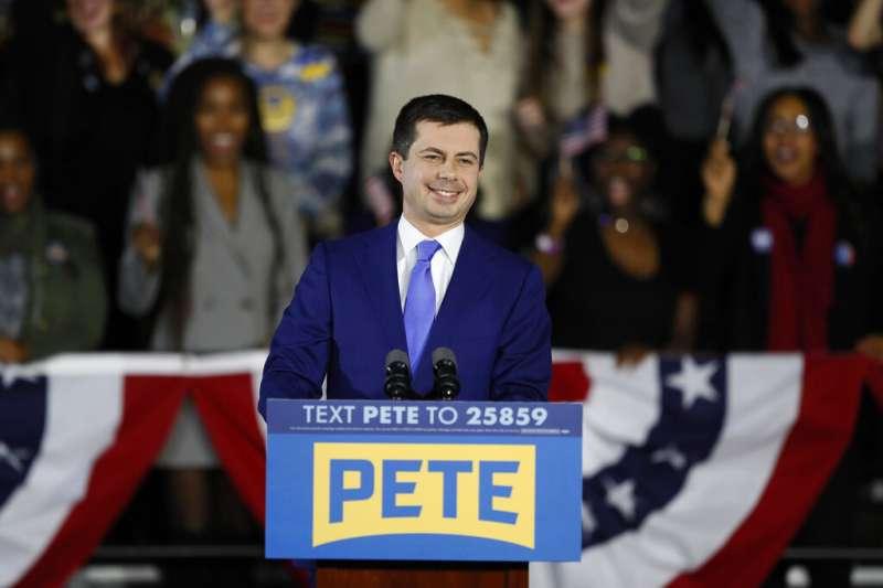2020美國總統大選,民主黨總統參選人、印第安納州南本德市(South Bend)前市長布德賈吉(Pete Buttigieg)。(AP)