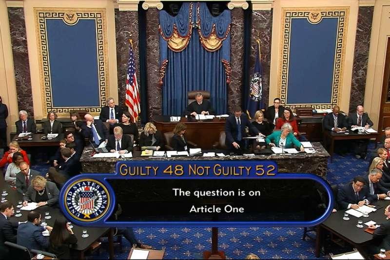 美國聯邦參議院5日下午以52票無罪對48票有罪,判定總統川普並未濫用職權。(美聯社)