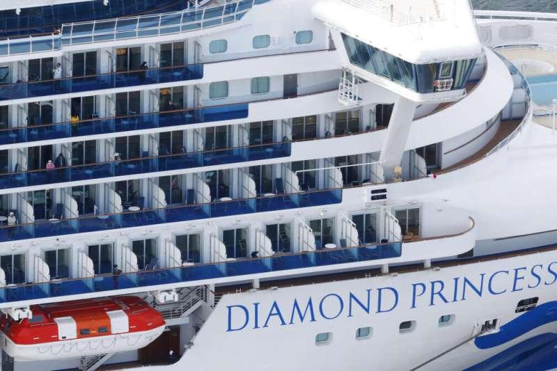 目前停泊在橫濱港的「鑽石公主號」。(美聯社)
