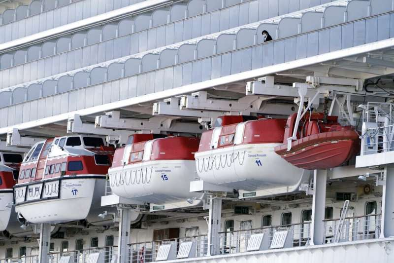 3千多名乘員目前仍在「鑽石公主號」上隔離觀察。(美聯社)