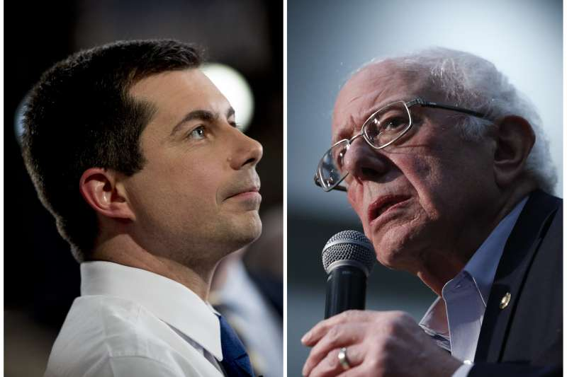 美國2020總統大選:參選人桑德斯(右)與布德賈吉在民主黨初選首站愛荷華州各自宣佈勝出(AP)