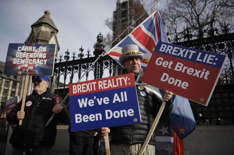 2020年1月31日,英國脫離歐盟,進入11個月的過渡期(AP)