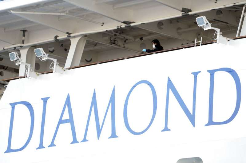 鑽石公主號目前停泊在日本橫濱港碼頭外防疫隔離,船上20多名台灣人期盼早日下船。(資料照,美聯社)