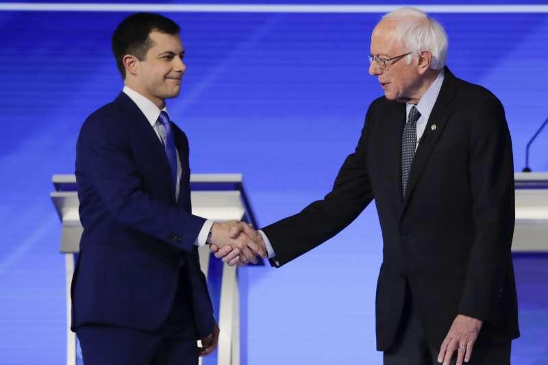 2020美國總統大選:參加民主黨初選的南本德前市長布德賈吉與佛蒙特州聯邦參議員桑德斯(AP)