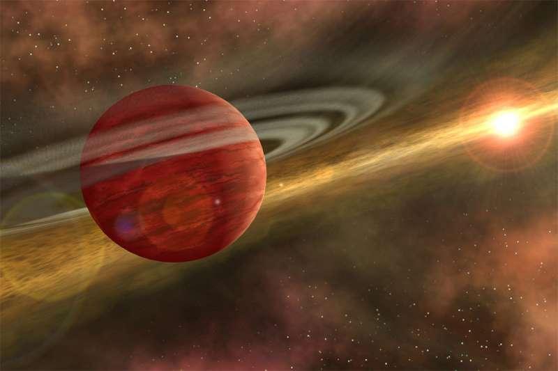 美國羅徹斯特理工學院10日在美國天文學會發表論文指出,他們發現了一顆新生的「巨嬰」系外行星「2MASS 1155-7919 b」。(取自羅徹斯特理工學院網站)